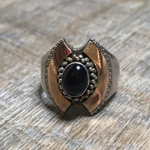 Sterling Silver Black Stone Size 8 1/2 Ring
